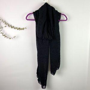 Nordstrom Black Knit Oversized Travel Wrap Scarf